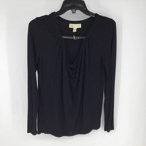 Michael Kors black long sleeve belted neck medium